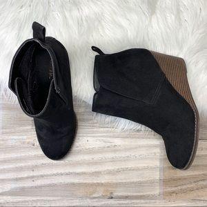 Merona Black Faux Suede Wedge Booties